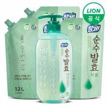 (무료배송)참그린 주방세제 순수발효 식물 720ml 용기 + 1.2L 리필 3개