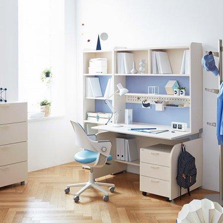 [SET]링키 서랍형 책상세트 + 시디즈 링고의자 아이보리+블루:패브릭-블루