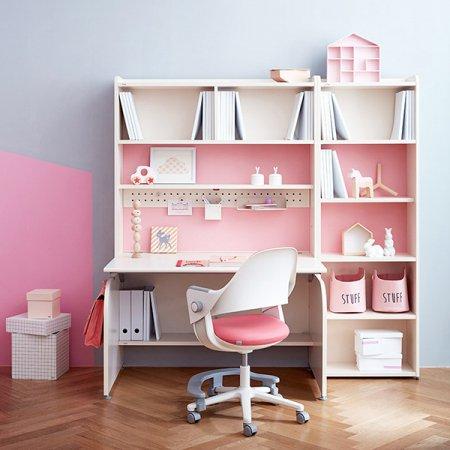 [SET] 링키 컴팩트 책상세트 + 시디즈 링고의자 아이보리+핑크:패브릭블루
