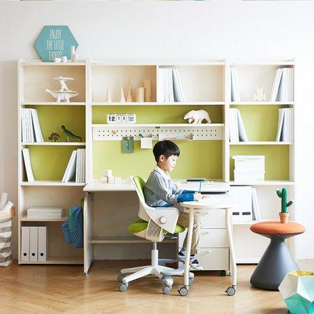 [SET]링키 퍼펙트 책상세트 + 시디즈 링고의자 책상-아이보리+블루:의자-인조가죽-블루