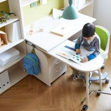 링키 책상세트(보조테이블 포함) 아이보리+블루