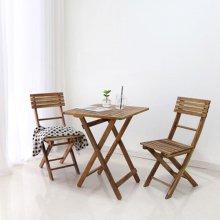 원목 접이식 카페테이블 SET_아카시아
