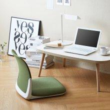 [SET] 리다테이블+플리코좌식의자 책상:아이보리+원목다리/의자:그린