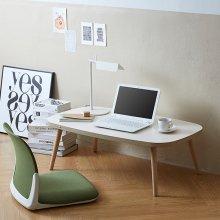 리다 거실테이블 아이보리상판+원목다리