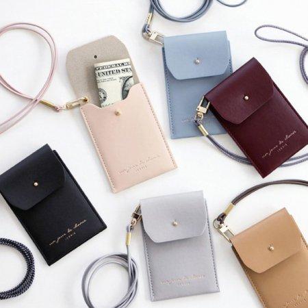아이코닉 Slit neck card pocket 카드지갑 [넥카드포켓/카드케이스/교통카드/목걸이] Indi pink