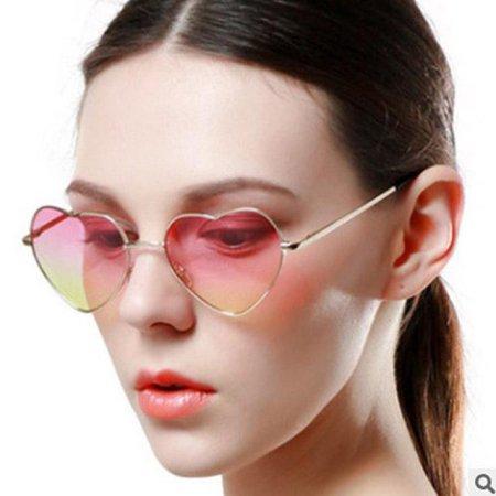 패션 하트 선글라스 안경 스타일 갈색