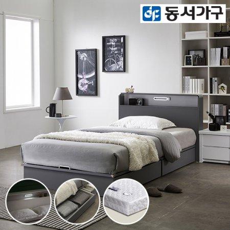 델라301 LED 평상서랍형 슈퍼싱글 침대+양면매트리스 DF637981 _그레이