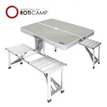 의자일체형 알루미늄 테이블-실버