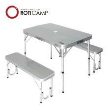 의자분리형 알루미늄 벤치 테이블-실버
