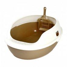 채널펫 거름망 화장실(브라운)-고양이화장실 하우스형 채널펫 거름망 화장실(브라운)