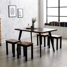스틸 인더밴 1200식탁세트 4인식탁 철제테이블 책상 상판_LPM아카시아(K22-812A):의자_아카시아_1인(T9)_4개