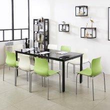 K33 테이블 1800세트 인테리어식탁 회의용테이블 책상 프레임_블랙(K33-818)/상판_아카시아:의자_체크_그린_4개