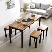 T7 철제식탁 사무실 테이블 철제책상 탁자 프레임_블랙(T7B-618)/상판_LPM_아카시아:의자_A타입_1인2EA.2인1EA