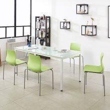 K34 테이블 1800세트 철제테이블 회의실 사무용책상 프레임_블랙(K34-818)/상판_아카시아:의자_체크_그린_4개
