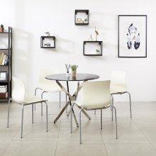 K35 원형테이블 900세트 사무실 카페 회의 철제테이블 프레임_투명(K35):의자_체크_그린_4개