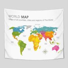 대형 패브릭 포스터 세계지도 컬러맵 150x130cm