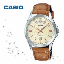 카시오 MTP-1381L-9A 남성 가죽 손목 시계