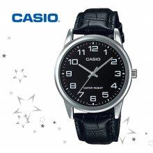 카시오 MTP-V001L-1B 남성 가죽 손목 시계