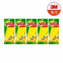 면코팅 노랑 긴 고무장갑 5개세트