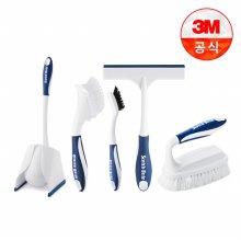 욕실청소용 브러쉬 5종세트(대형다용도브러쉬+변기용브러쉬+타일틈새브러쉬+핸디브러쉬+유리닦이)