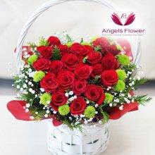 장미한아름하트 일반형꽃바구니 전국꽃배달