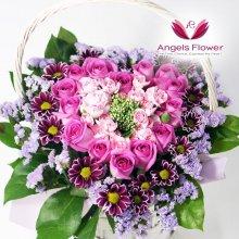 로맨틱핑크하트 일반형꽃바구니 전국꽃배달
