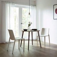 레마 800폭 원형테이블 식탁세트 그레이매트+월넛브라운