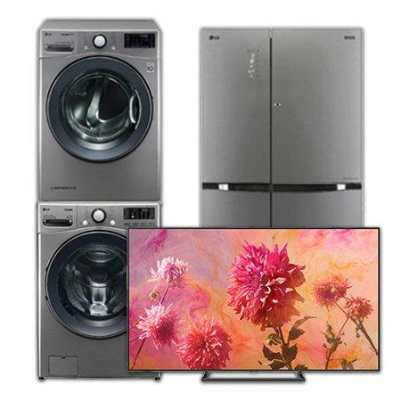 [이사혼수 패키지] 의류건조기:RH14VH(14KG) + 드럼세탁기:F18VDU(18KG) + 양문형냉장고:S831TS35(821L) + QLEDTV(벽걸이형):QN65Q9FNAFXKR(163cm)