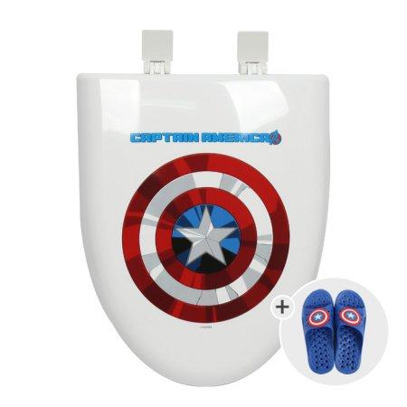 [마블 욕실화증정]캡틴아메리카 라운드 하드형 변기커버_대형O형