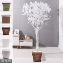 라인-화이트자작나무화분set 240cm (조화) FREOFT 벽면형:빈티지마야우드화분(28cm) 5-5