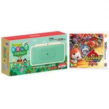 닌텐도 2DS XL 튀어나와요동물의숲 amiibo 에디션 + 3DS 요괴워치버스터즈적묘단 [통신 플레이어 최대4명]
