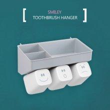 [3인용]스마일리 칫솔걸이 칫솔꽂이 욕실 수납선반