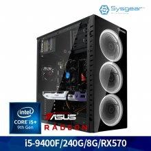 ICG9457 인텔 i5 9세대 9400F/RX 570/8G/240G 게이밍 컴퓨터