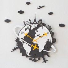 세계여행 블루 무소음 벽시계