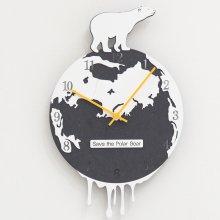 북극곰 블랙 무소음 벽시계