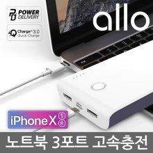 [알로코리아] 고속충전 3포트 보조배터리 20000mAh QCPD/노트북/스마트폰 네이비