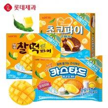 [롯데제과] 여름한정 망고파이 3종(초코파이/카스타드/찰떡) 초코파이 망고바나나 336g X 4개
