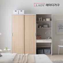 이안 빅 슬라이딩 옷장 2000 행거형 + 책상 _내추럴도어/A형