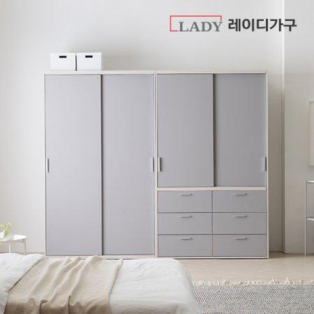 이안 빅 슬라이딩 옷장 2400 선반형+서랍형 _라이트그레이도어/선반A형+서랍형