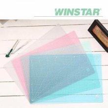 윈스타 PVC 반투명 300X215 A4 데스크 커팅매트 _블루