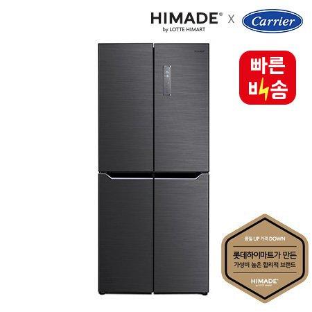 [400리터대 4도어 슬림형 디자인] 세미빌트인 냉장고, 블랙메탈 고급형