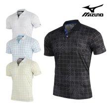미즈노 SS 남성 체크 반팔 티셔츠_52MA9012_골프웨어 MIZUNO M CHECK SHORT SHIRTS