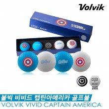 [볼빅] 비비드 마블 캡틴아메리카(CAPTAIN AMERICA) 골프볼/골프공 [3피스/4구+볼마커]