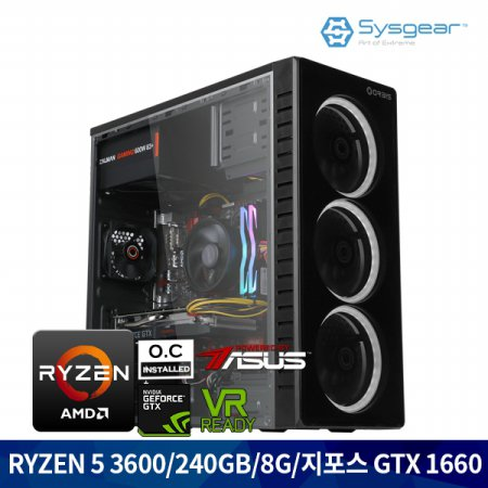 ICG3616 라이젠 5 3600/RAM8G/GTX 1660/SSD240 게이밍컴퓨터