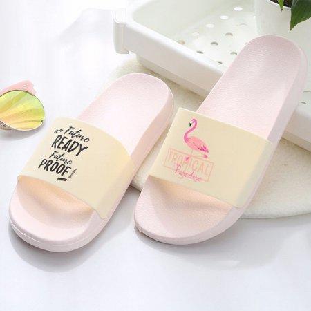 홈 욕실 사무실 실내화 편안한 쿠션 슬리퍼 Flamingo