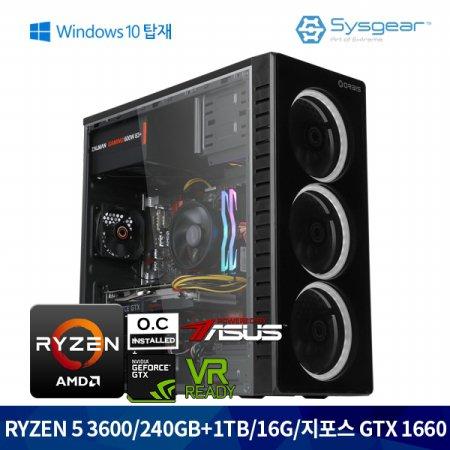 ICG362CW 라이젠 5 3600/RAM16G/GTX 1660/SSD240/HDD1TB/윈도우