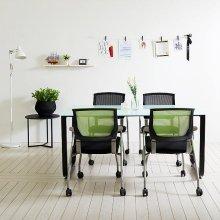 스틸뷰 1500테이블세트 회의실 철제테이블 책상 4인용