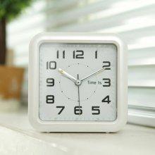 스퀘어 아트 알람 탁상시계 (화이트) 시계
