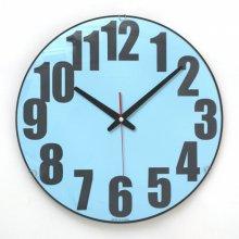 칼라 글라스 저소음 벽시계(블루) 시계