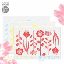 실리콘 식탁매트 꽃패턴 WSK3170